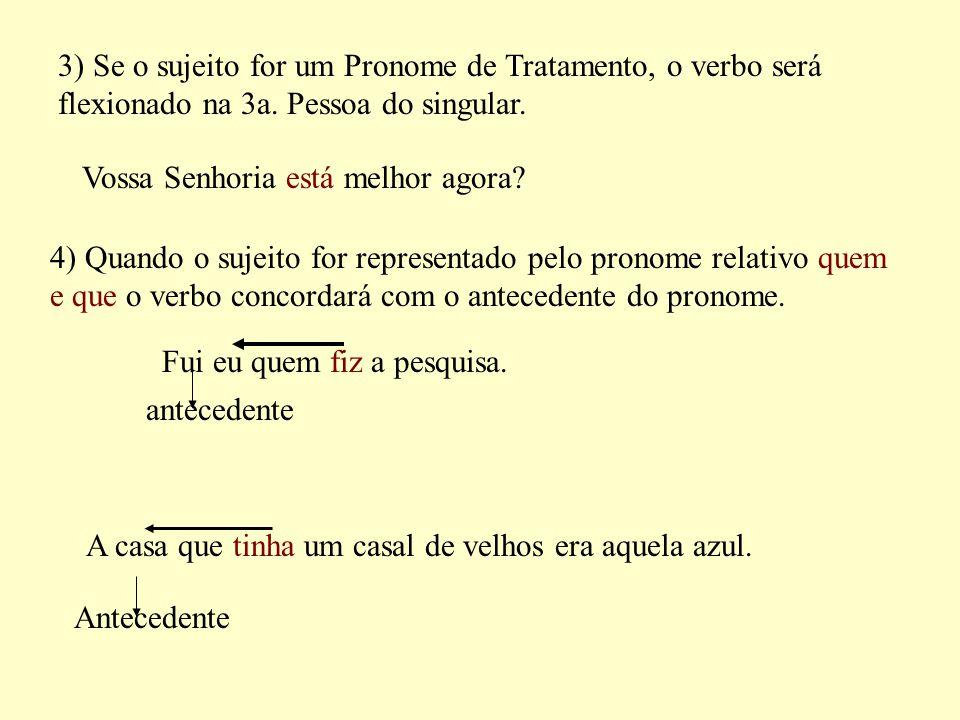 3) Se o sujeito for um Pronome de Tratamento, o verbo será flexionado na 3a. Pessoa do singular.