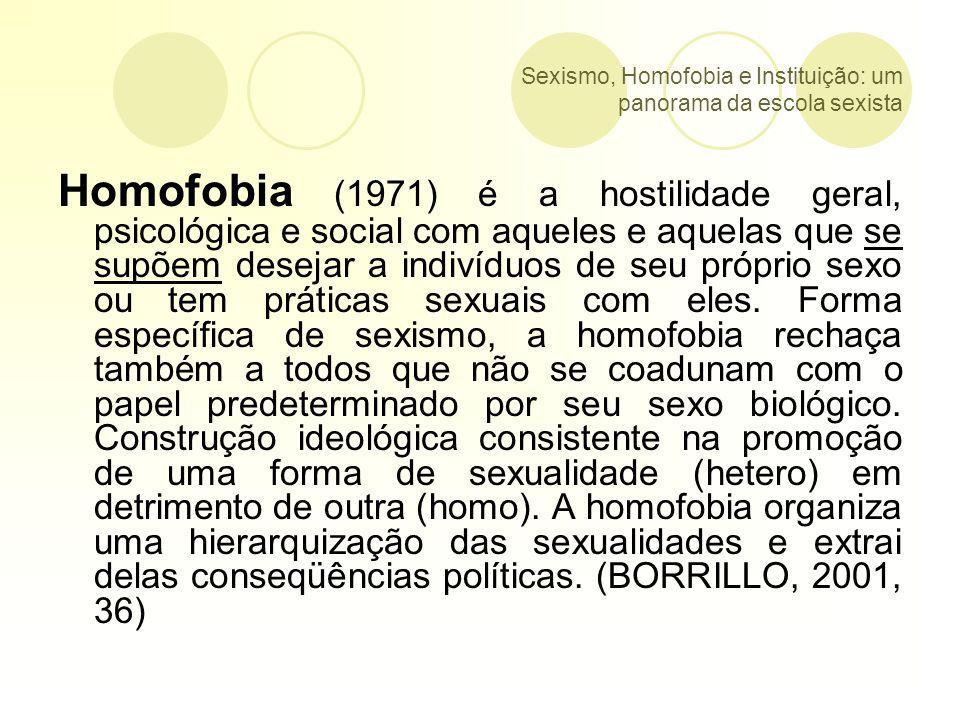 Sexismo, Homofobia e Instituição: um panorama da escola sexista