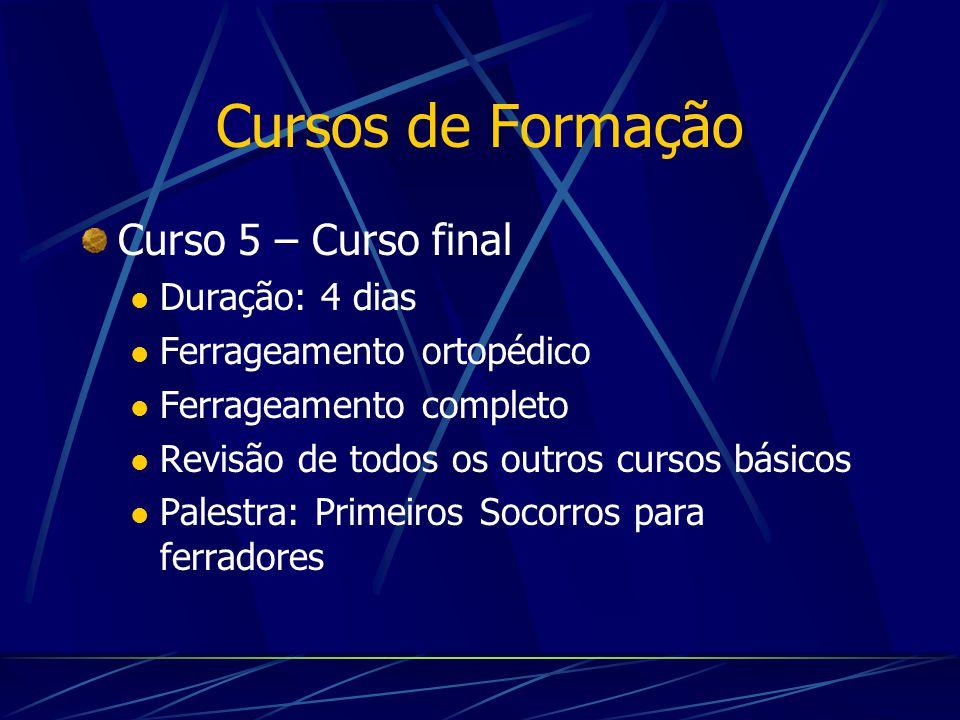 Cursos de Formação Curso 5 – Curso final Duração: 4 dias