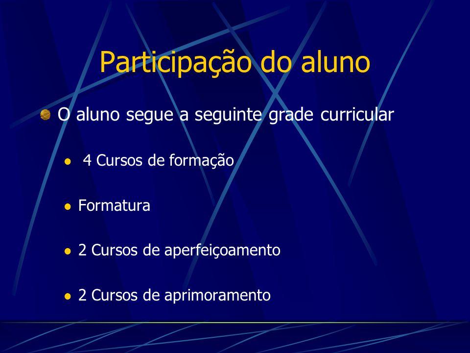 Participação do aluno O aluno segue a seguinte grade curricular