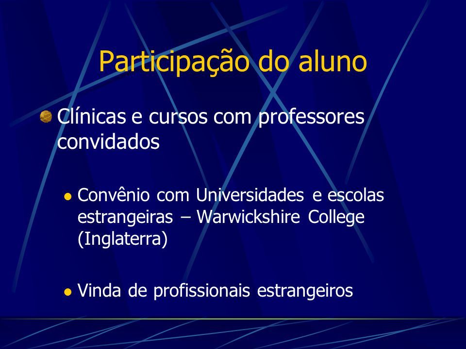 Participação do aluno Clínicas e cursos com professores convidados