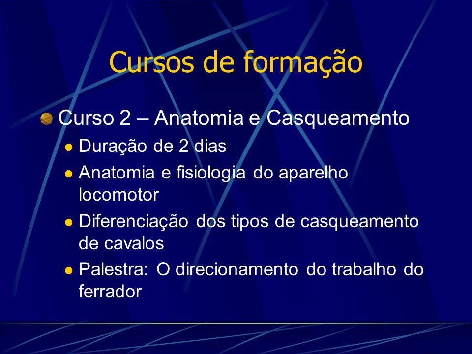 Cursos de formação Curso 2 – Anatomia e Casqueamento Duração de 2 dias