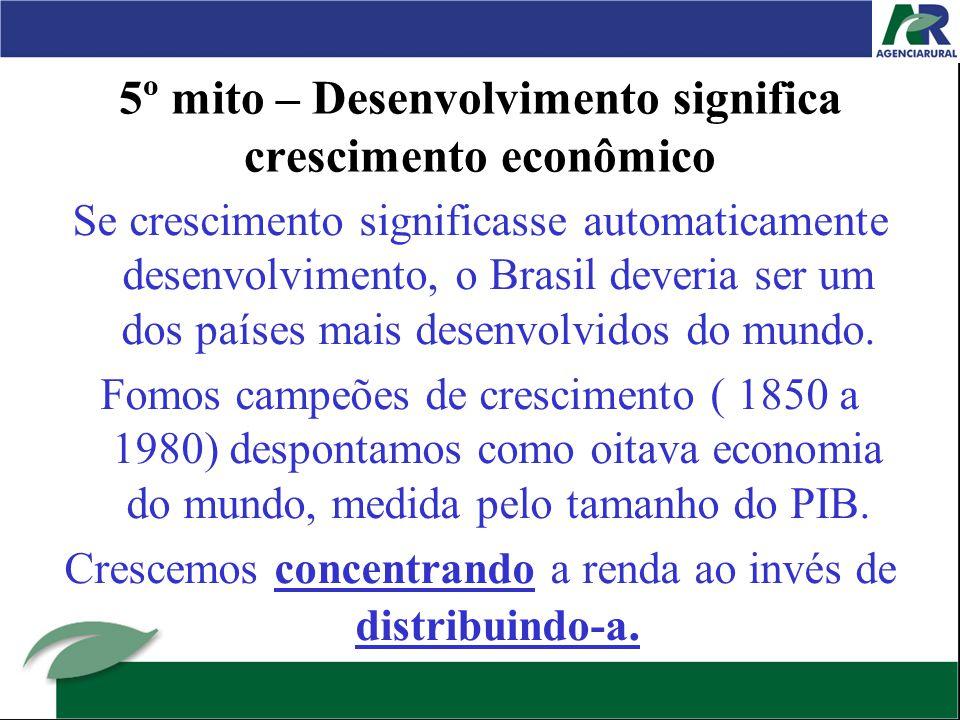 5º mito – Desenvolvimento significa crescimento econômico