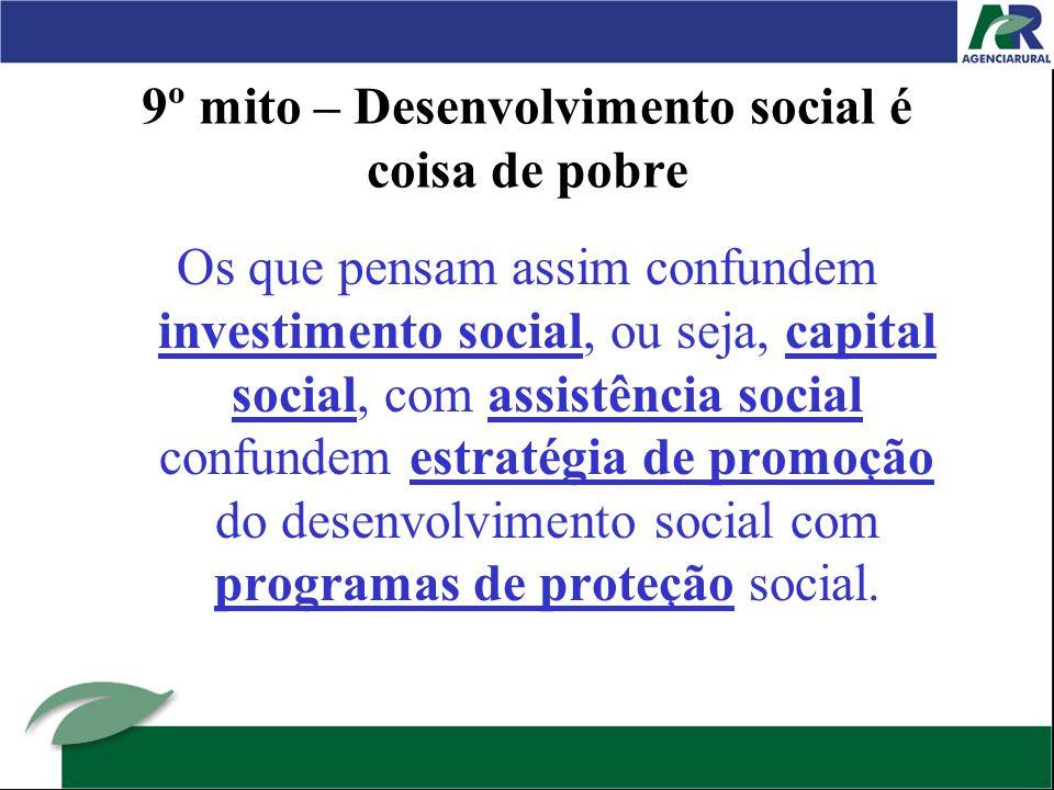 9º mito – Desenvolvimento social é coisa de pobre