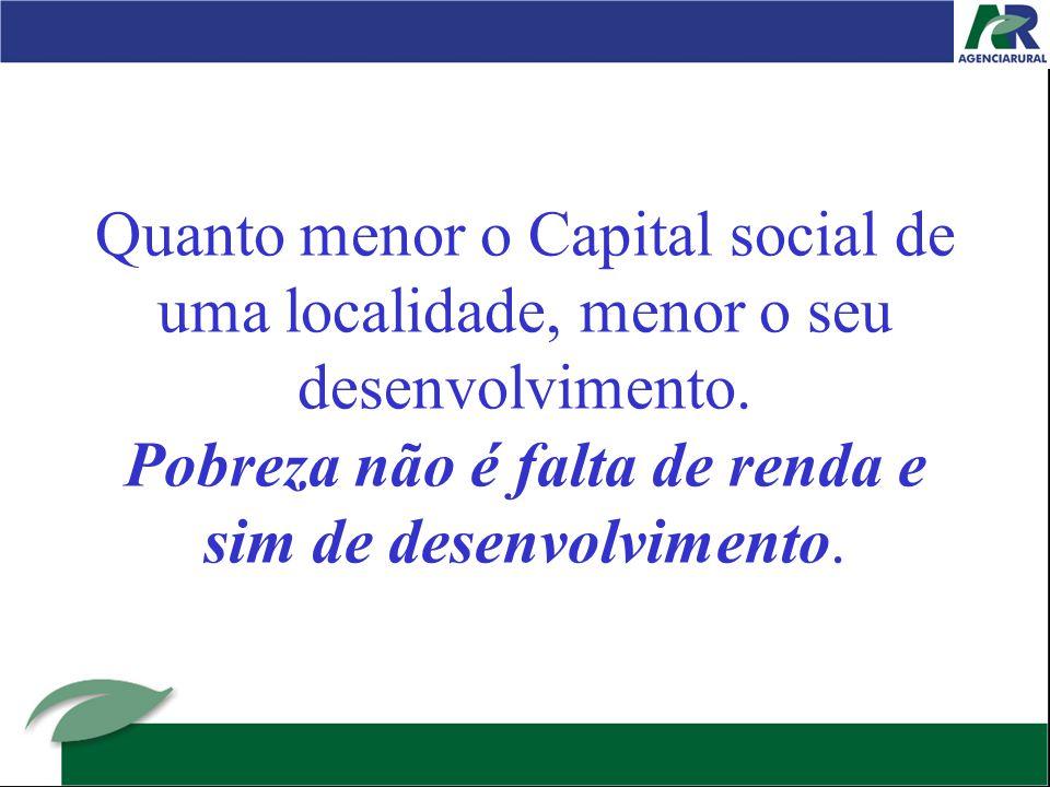 Quanto menor o Capital social de uma localidade, menor o seu desenvolvimento.