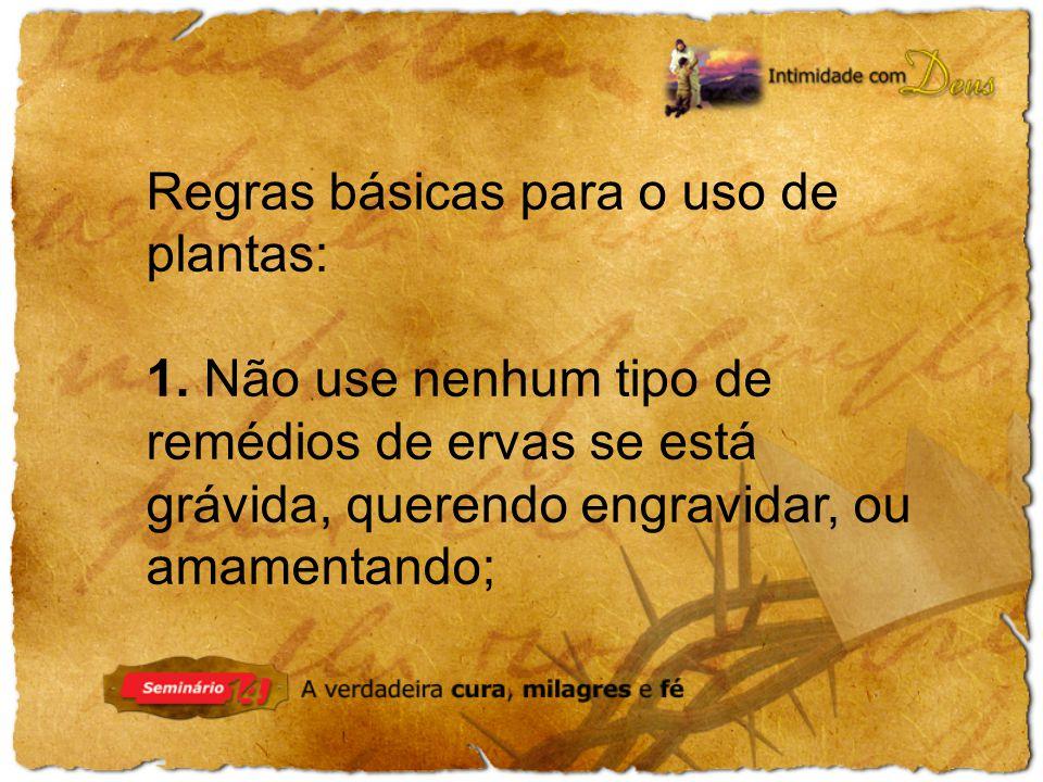 Regras básicas para o uso de plantas:
