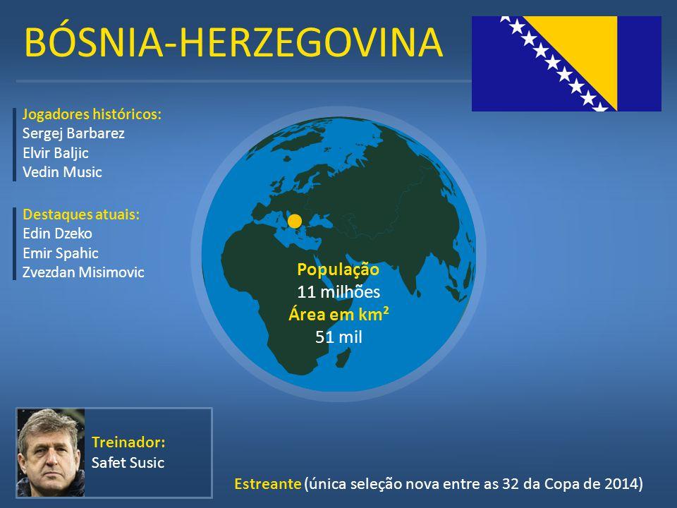 BÓSNIA-HERZEGOVINA População 11 milhões Área em km² 51 mil Treinador: