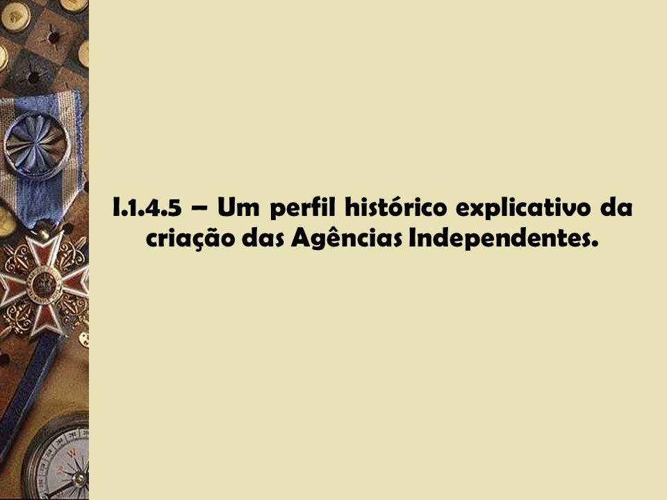 I.1.4.5 – Um perfil histórico explicativo da criação das Agências Independentes.