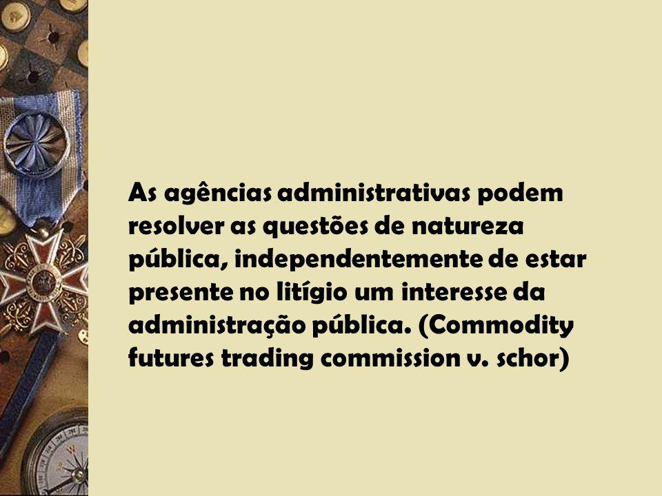 As agências administrativas podem resolver as questões de natureza pública, independentemente de estar presente no litígio um interesse da administração pública.