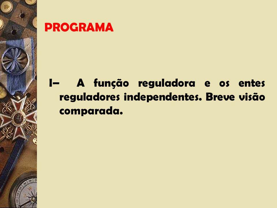 PROGRAMA I– A função reguladora e os entes reguladores independentes. Breve visão comparada.