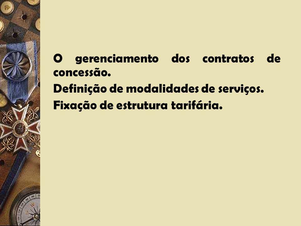 O gerenciamento dos contratos de concessão.