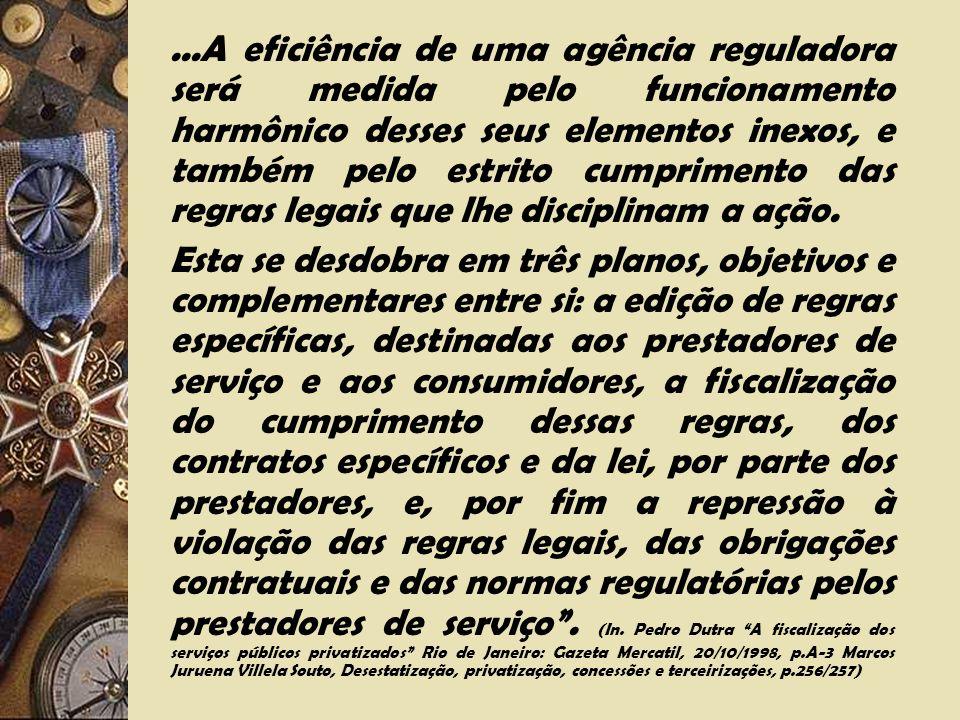 ...A eficiência de uma agência reguladora será medida pelo funcionamento harmônico desses seus elementos inexos, e também pelo estrito cumprimento das regras legais que lhe disciplinam a ação.