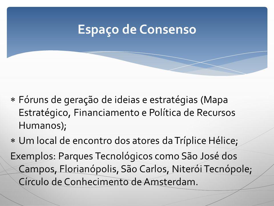 Espaço de Consenso Fóruns de geração de ideias e estratégias (Mapa Estratégico, Financiamento e Política de Recursos Humanos);