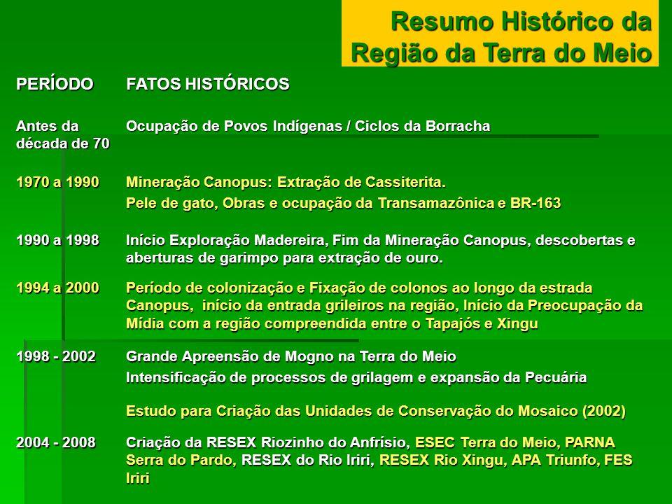 Resumo Histórico da Região da Terra do Meio PERÍODO FATOS HISTÓRICOS