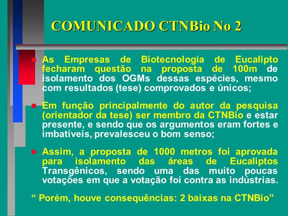 COMUNICADO CTNBio No 2