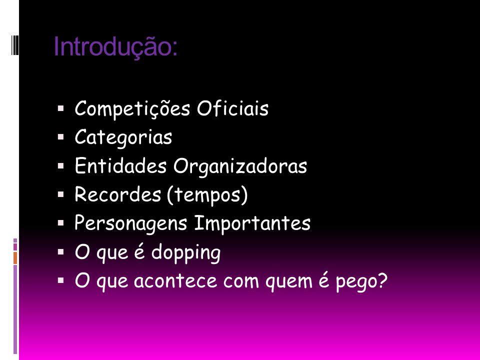 Introdução: Competições Oficiais Categorias Entidades Organizadoras
