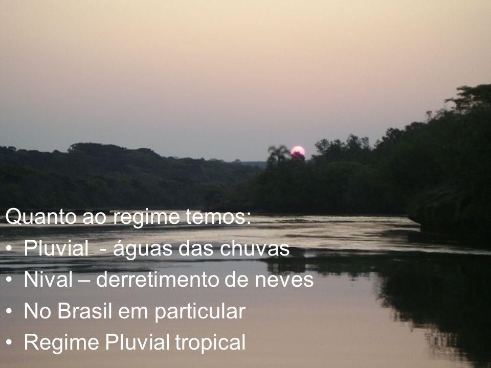 Quanto regime Quanto ao regime temos: Pluvial - águas das chuvas