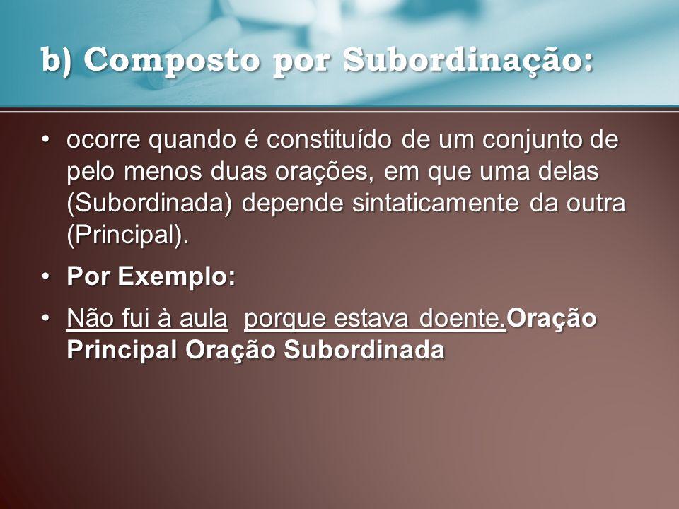 b) Composto por Subordinação: