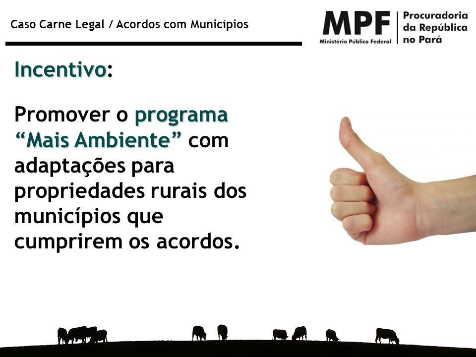 Incentivo: Promover o programa Mais Ambiente com adaptações para propriedades rurais dos municípios que cumprirem os acordos.