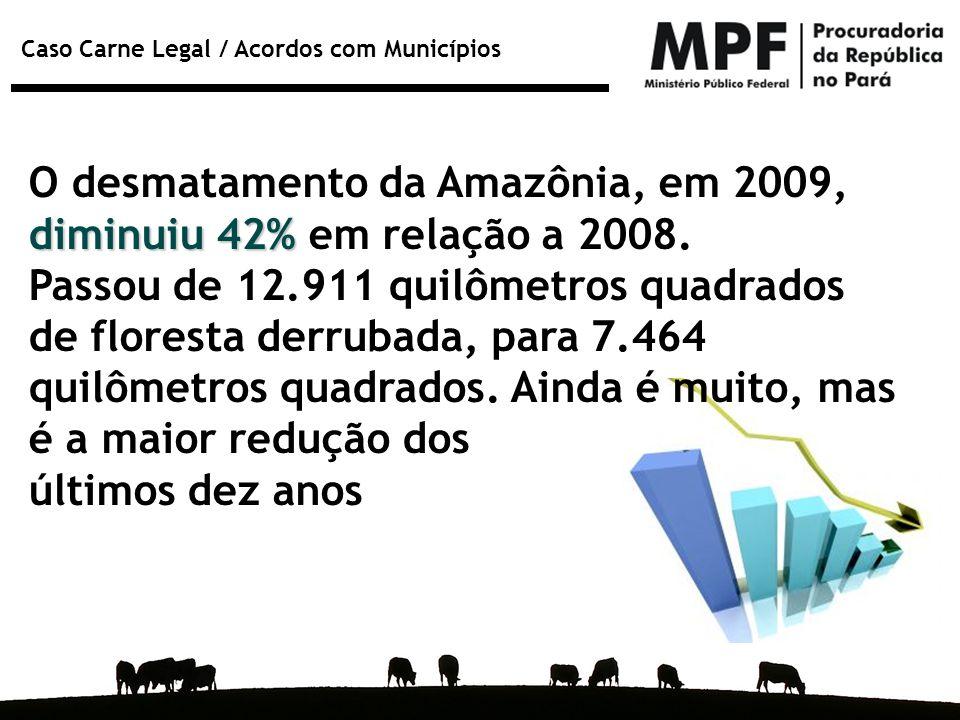 O desmatamento da Amazônia, em 2009, diminuiu 42% em relação a 2008.