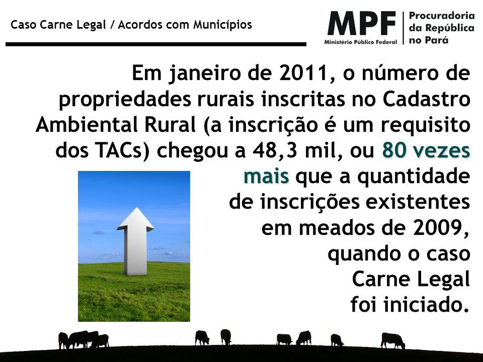 Em janeiro de 2011, o número de propriedades rurais inscritas no Cadastro Ambiental Rural (a inscrição é um requisito dos TACs) chegou a 48,3 mil, ou 80 vezes mais que a quantidade