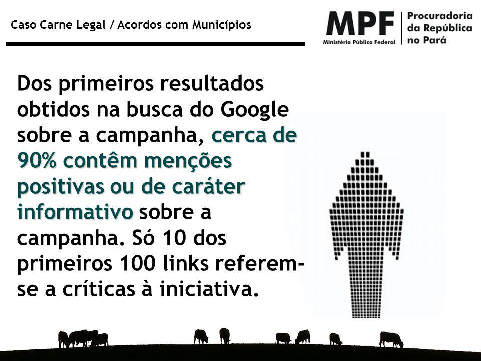 Dos primeiros resultados obtidos na busca do Google sobre a campanha, cerca de 90% contêm menções positivas ou de caráter informativo sobre a campanha.