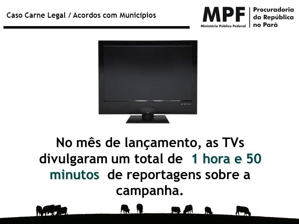 No mês de lançamento, as TVs divulgaram um total de 1 hora e 50 minutos de reportagens sobre a campanha.