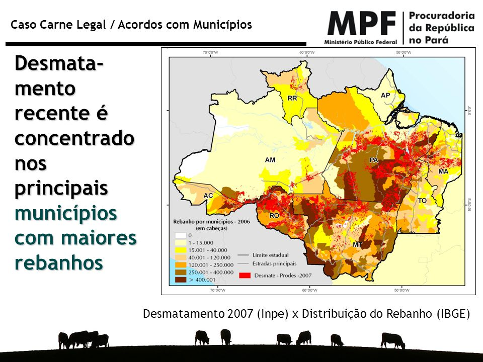 Desmata-mento recente é concentrado nos principais municípios com maiores rebanhos