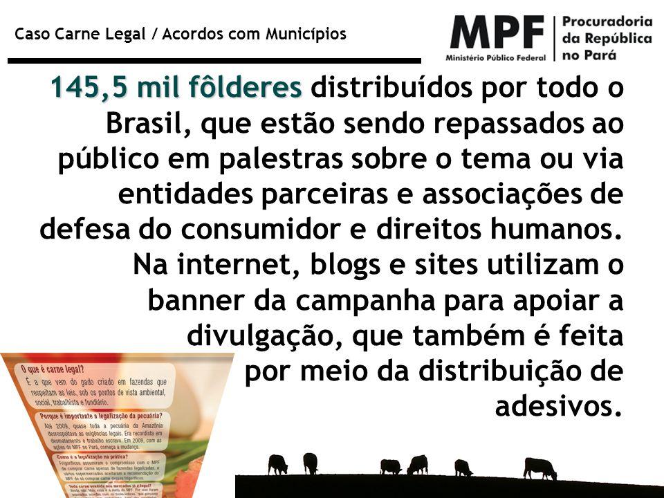 145,5 mil fôlderes distribuídos por todo o Brasil, que estão sendo repassados ao público em palestras sobre o tema ou via entidades parceiras e associações de defesa do consumidor e direitos humanos. Na internet, blogs e sites utilizam o banner da campanha para apoiar a