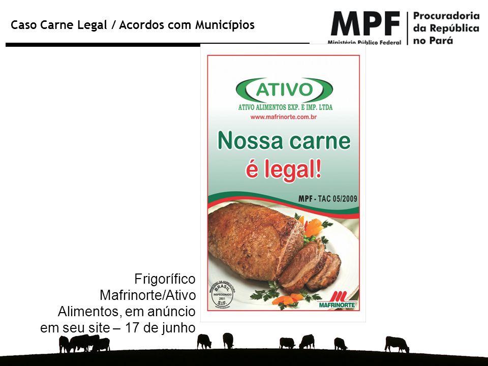 Frigorífico Mafrinorte/Ativo Alimentos, em anúncio em seu site – 17 de junho