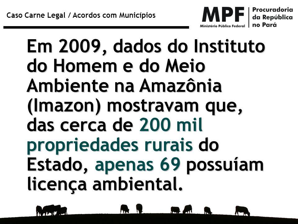 Em 2009, dados do Instituto do Homem e do Meio Ambiente na Amazônia (Imazon) mostravam que, das cerca de 200 mil propriedades rurais do Estado, apenas 69 possuíam licença ambiental.