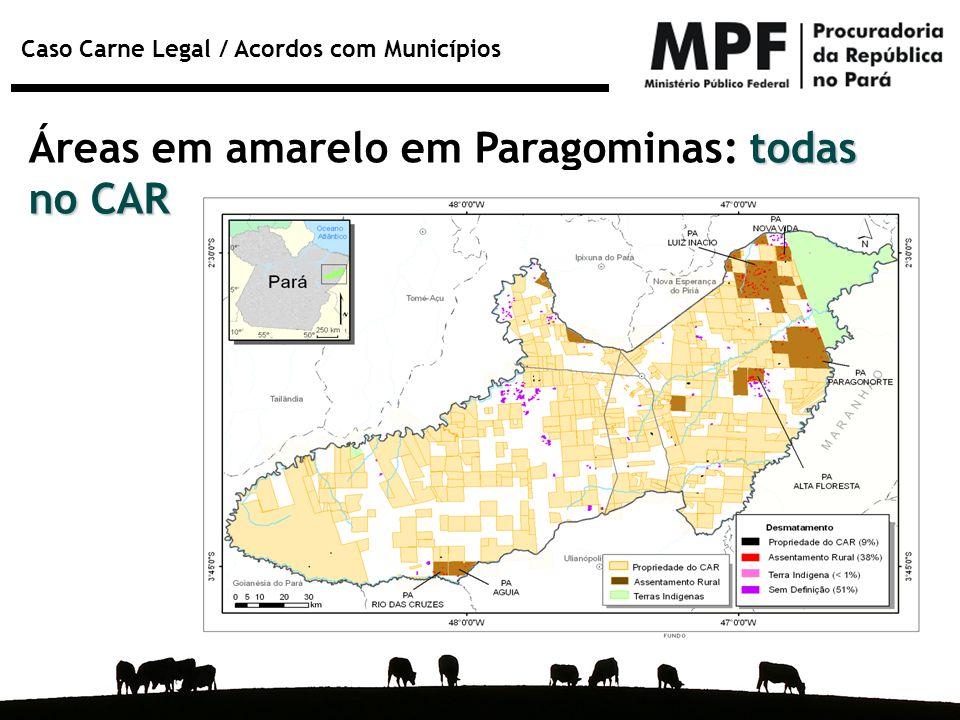 Áreas em amarelo em Paragominas: todas no CAR