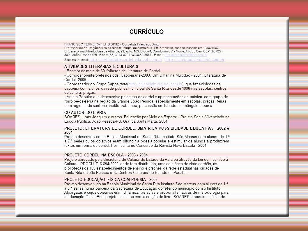 CURRÍCULO PROJETO CORDEL NA ESCOLA - 2003 / 2004