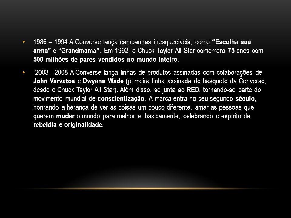 1986 – 1994 A Converse lança campanhas inesquecíveis, como Escolha sua arma e Grandmama . Em 1992, o Chuck Taylor All Star comemora 75 anos com 500 milhões de pares vendidos no mundo inteiro.