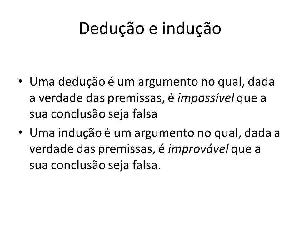 Dedução e indução Uma dedução é um argumento no qual, dada a verdade das premissas, é impossível que a sua conclusão seja falsa.