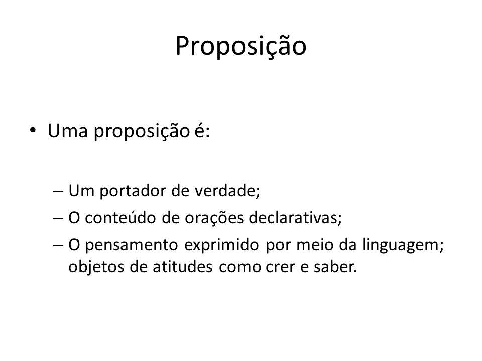 Proposição Uma proposição é: Um portador de verdade;