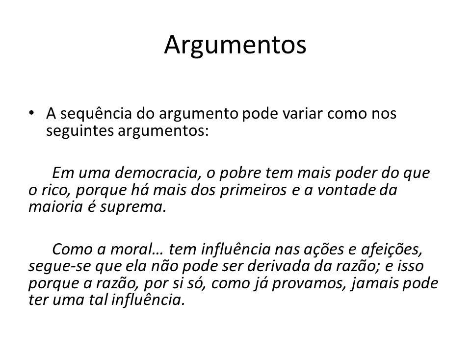 Argumentos A sequência do argumento pode variar como nos seguintes argumentos:
