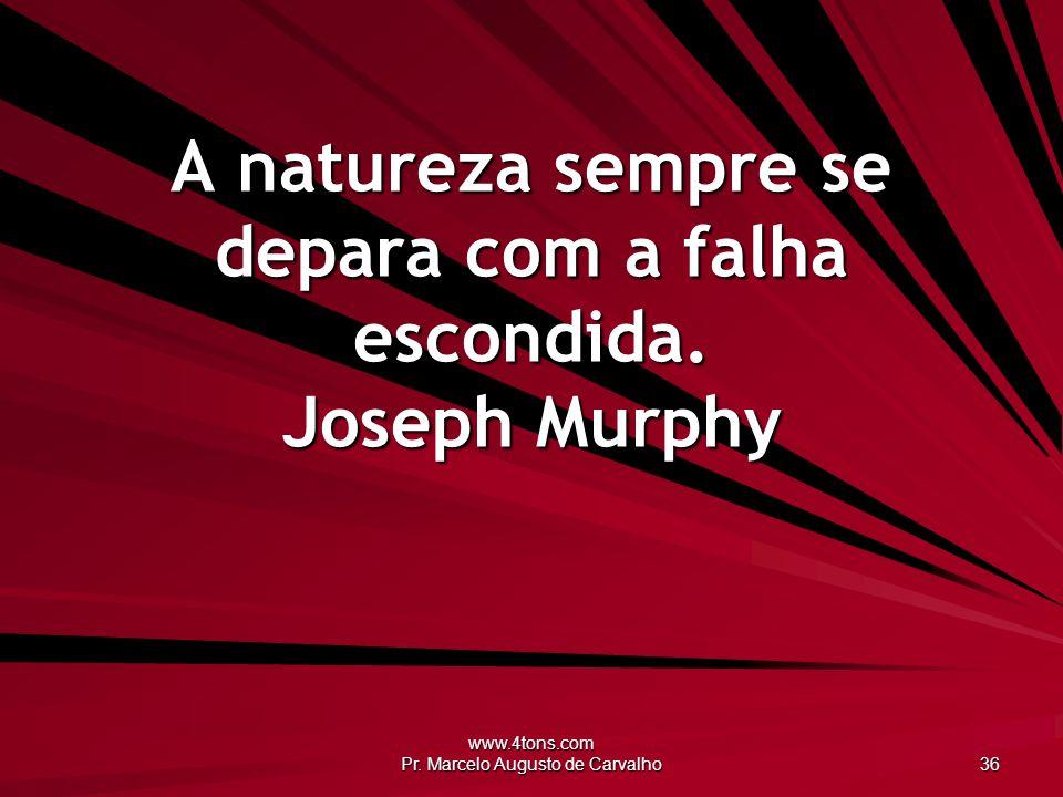 A natureza sempre se depara com a falha escondida. Joseph Murphy