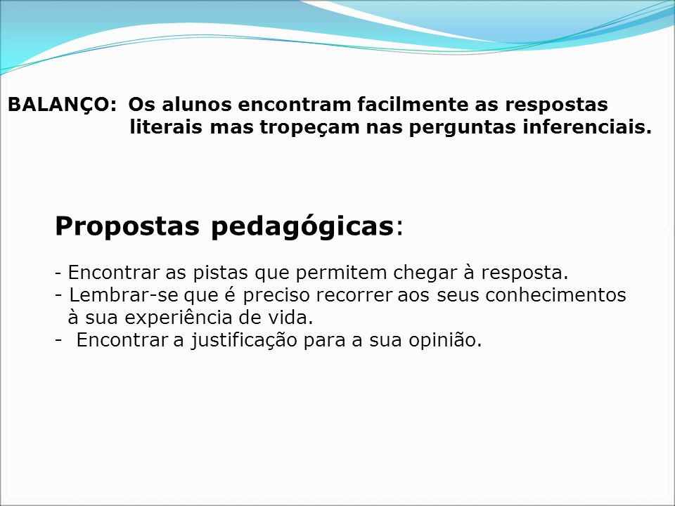 Propostas pedagógicas: