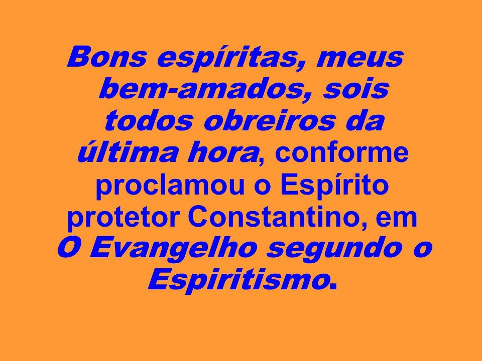 Bons espíritas, meus bem-amados, sois todos obreiros da última hora, conforme proclamou o Espírito protetor Constantino, em O Evangelho segundo o Espiritismo.