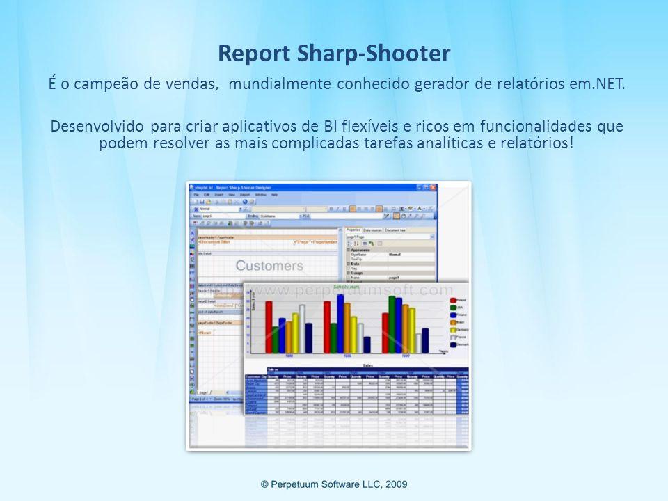 Report Sharp-Shooter É o campeão de vendas, mundialmente conhecido gerador de relatórios em.NET.