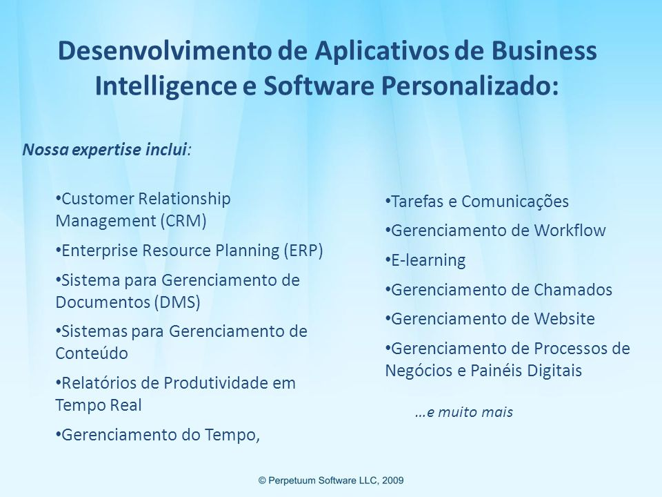 Desenvolvimento de Aplicativos de Business Intelligence e Software Personalizado: