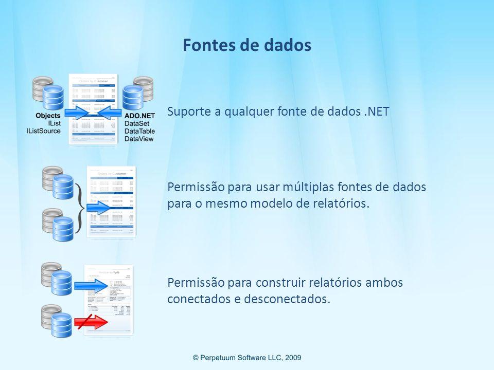Fontes de dados Suporte a qualquer fonte de dados .NET
