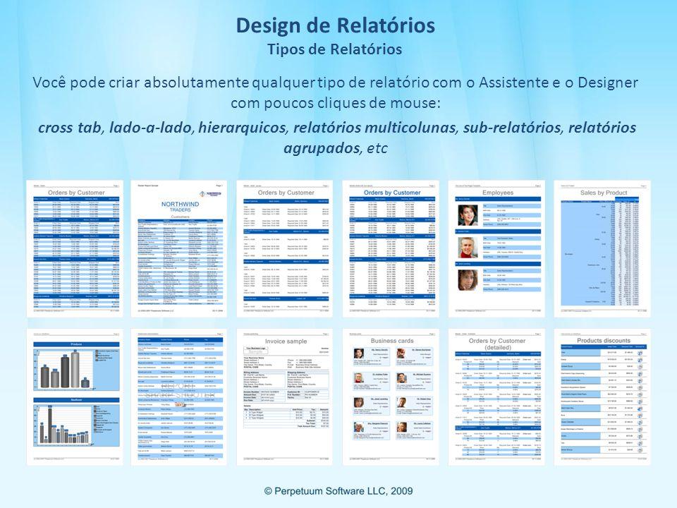 Design de Relatórios Tipos de Relatórios