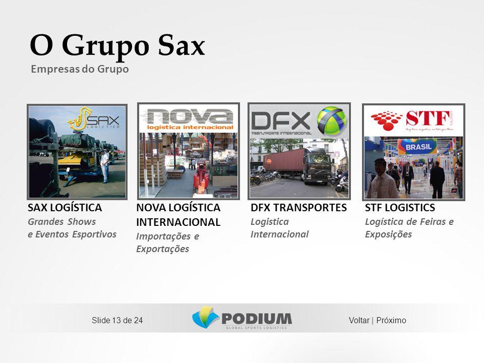 O Grupo Sax Empresas do Grupo SAX LOGÍSTICA