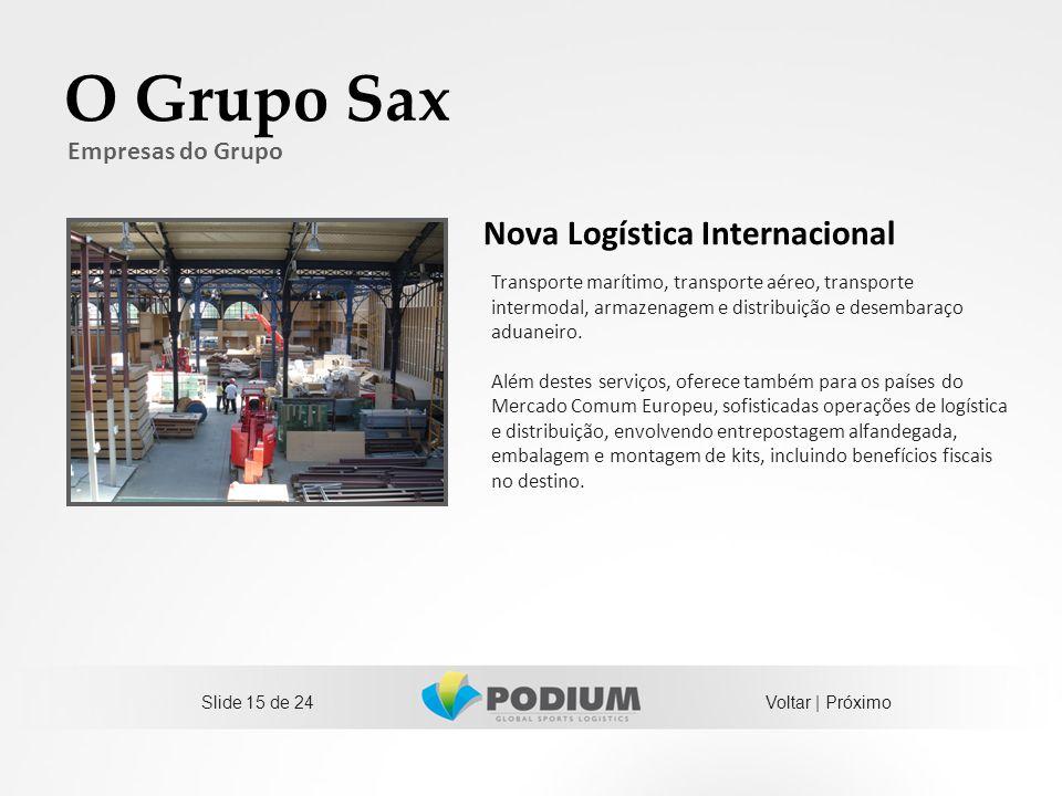 O Grupo Sax Nova Logística Internacional Empresas do Grupo