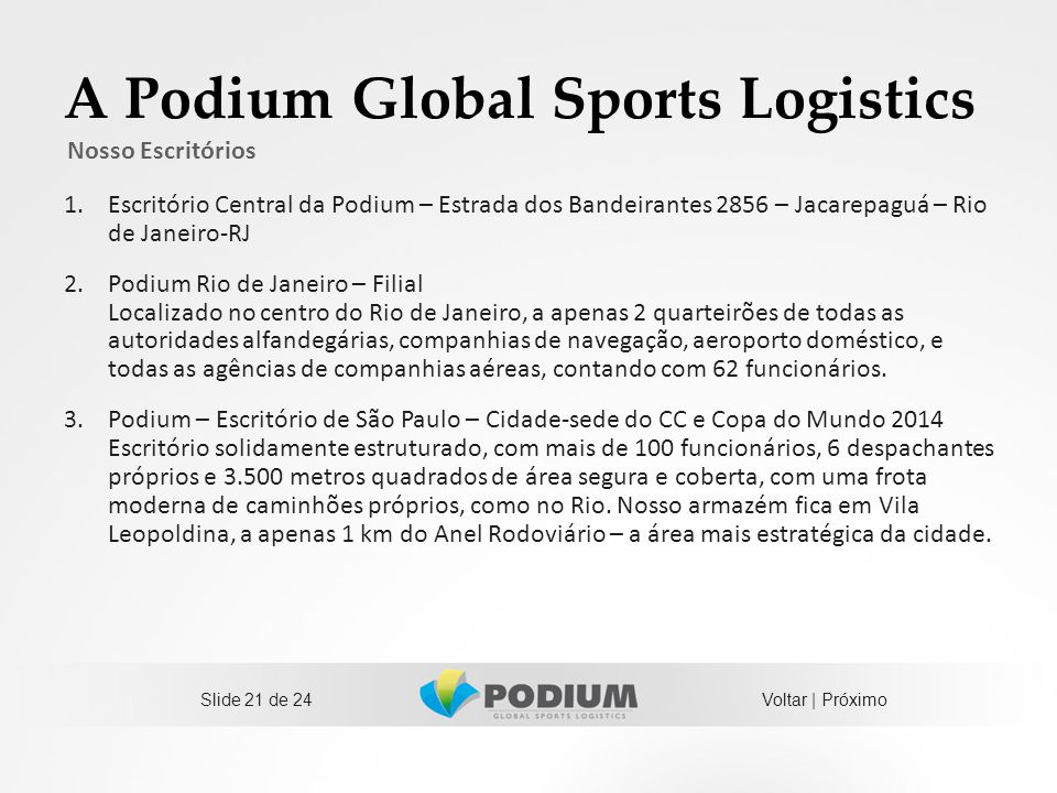 A Podium Global Sports Logistics