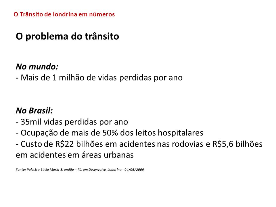 O problema do trânsito No mundo: