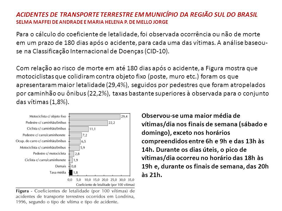 ACIDENTES DE TRANSPORTE TERRESTRE EM MUNICÍPIO DA REGIÃO SUL DO BRASIL SELMA MAFFEI DE ANDRADE E MARIA HELENA P. DE MELLO JORGE
