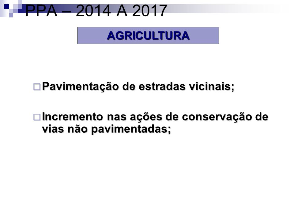 PPA – 2014 A 2017 AGRICULTURA Pavimentação de estradas vicinais;